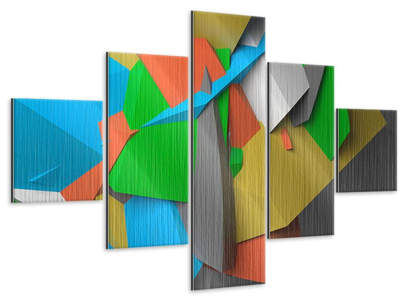 Metallic-Bild 5-teilig 3D-Geometrische Figuren