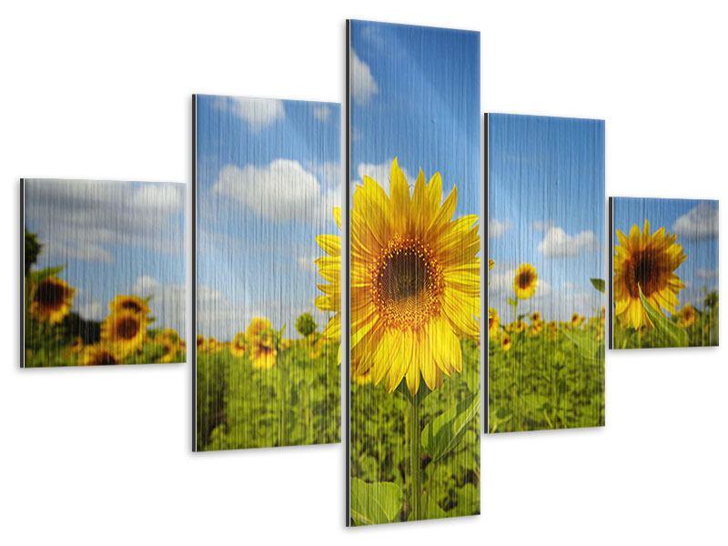 Metallic-Bild 5-teilig Sommer-Sonnenblumen