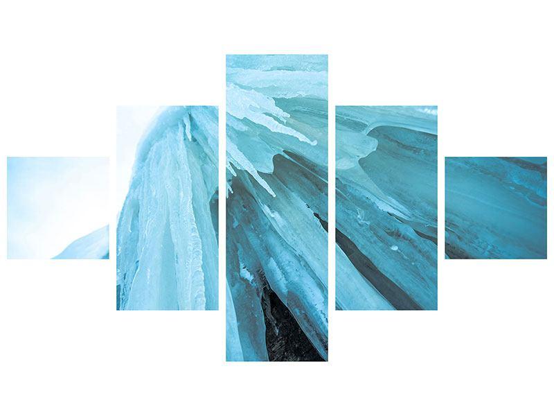 Metallic-Bild 5-teilig Die Eiswand