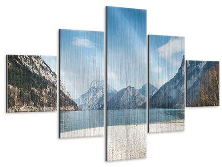 Metallic-Bild 5-teilig Der idyllische Bergsee