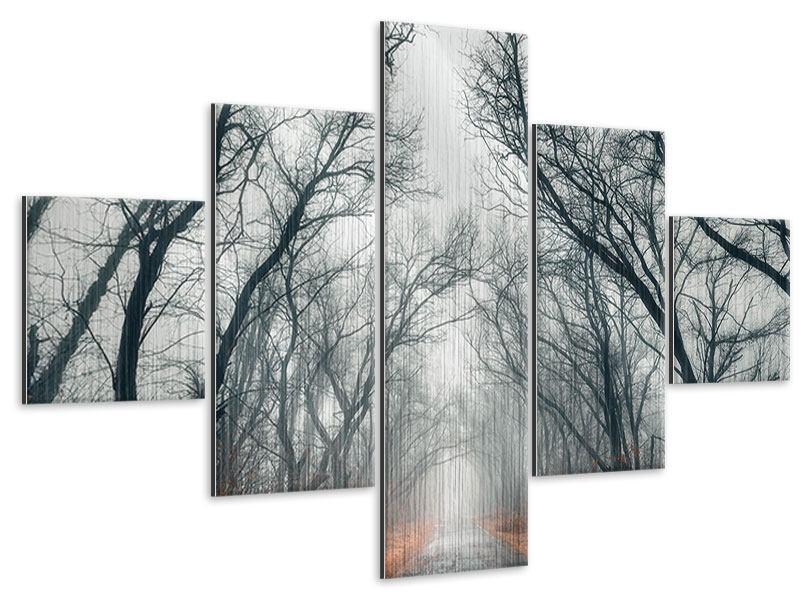 Metallic-Bild 5-teilig Mysteriöse Stimmung im Wald