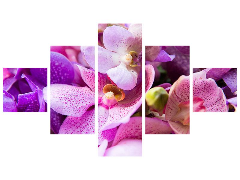Metallic-Bild 5-teilig Im Orchideenparadies