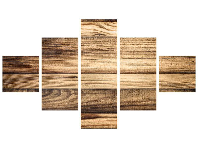 Metallic-Bild 5-teilig Holztrend