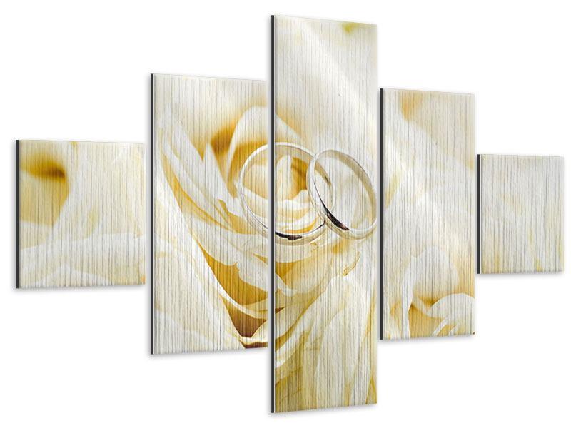 Metallic-Bild 5-teilig Trauringe auf Rosen gebettet