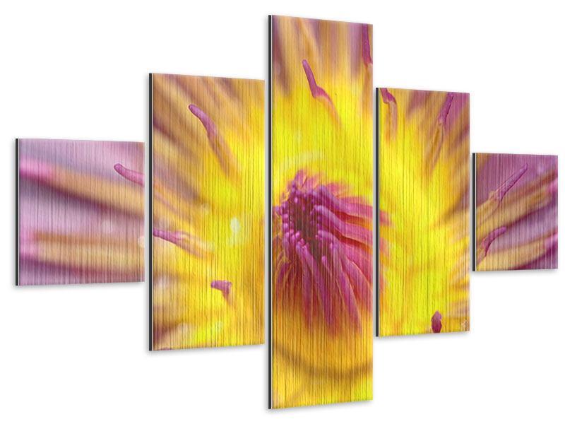 Metallic-Bild 5-teilig XXL-Lotus