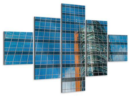 Metallic-Bild 5-teilig Wolkenkratzer-Spiegel