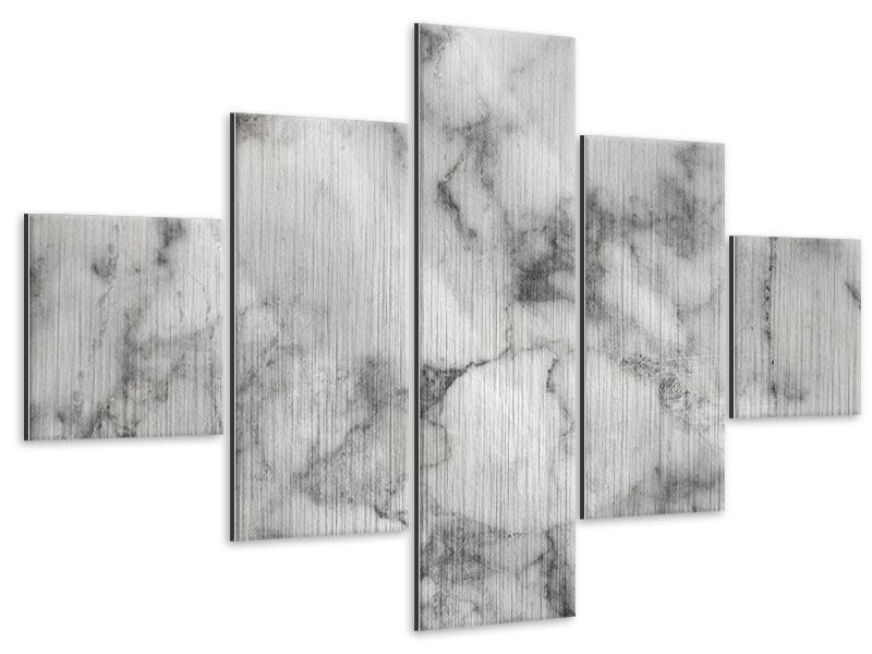 Metallic-Bild 5-teilig Klassischer Marmor