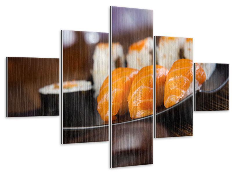 Metallic-Bild 5-teilig Sushi-Gericht