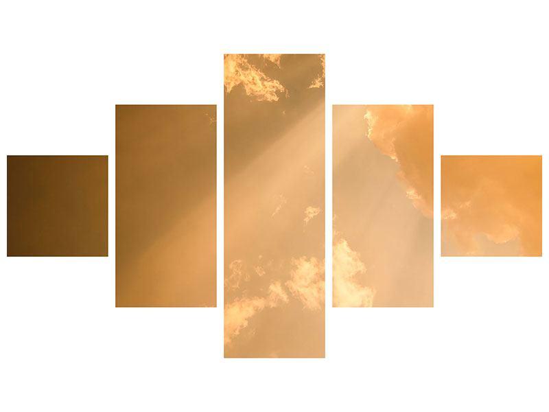 Metallic-Bild 5-teilig Abendhimmel