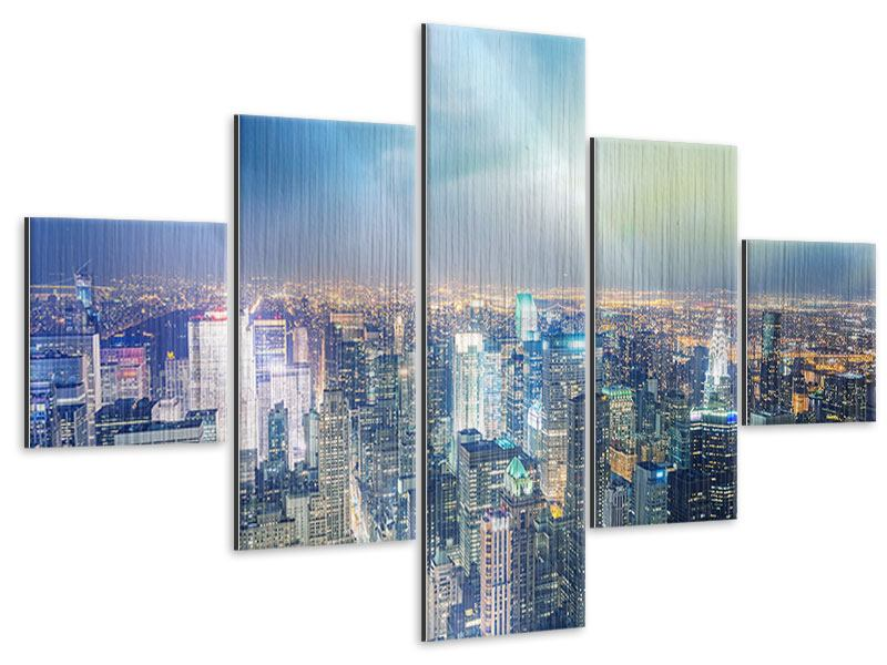 Metallic-Bild 5-teilig Skyline NY bei Sonnenuntergang