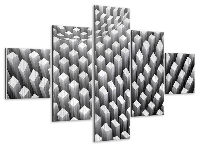Metallic-Bild 5-teilig 3D-Rasterdesign
