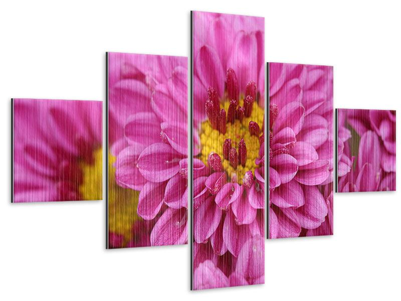 Metallic-Bild 5-teilig Chrysanthemen
