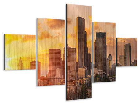 Metallic-Bild 5-teilig Skyline Washington