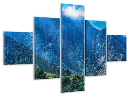 Metallic-Bild 5-teilig Die Berglandschaft