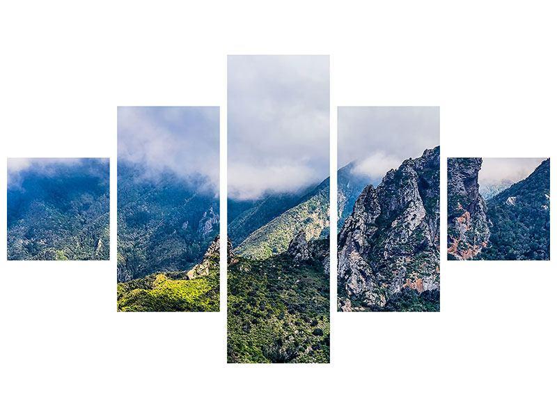 Metallic-Bild 5-teilig Der stille Berg