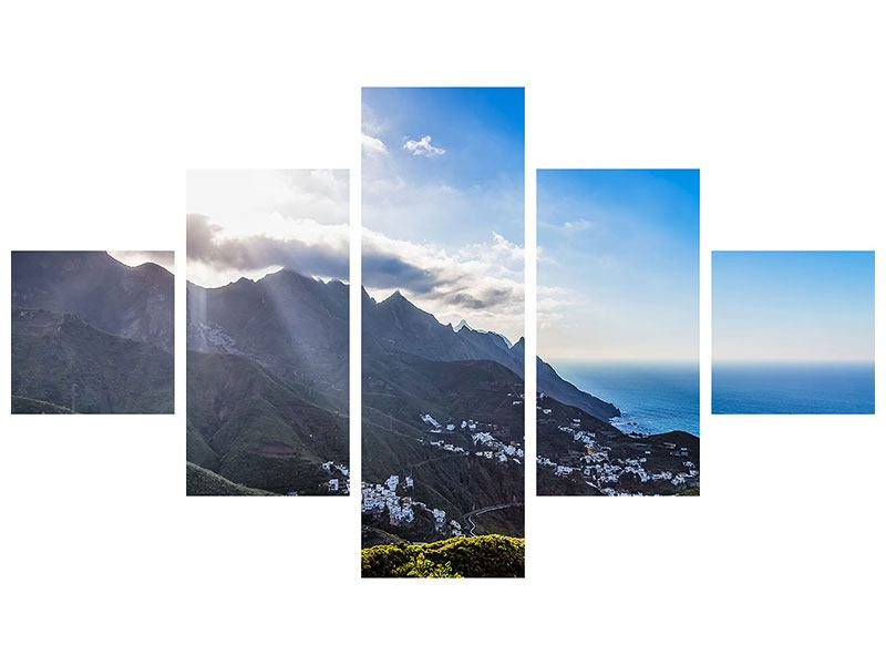 Metallic-Bild 5-teilig Der Frühling in den Bergen