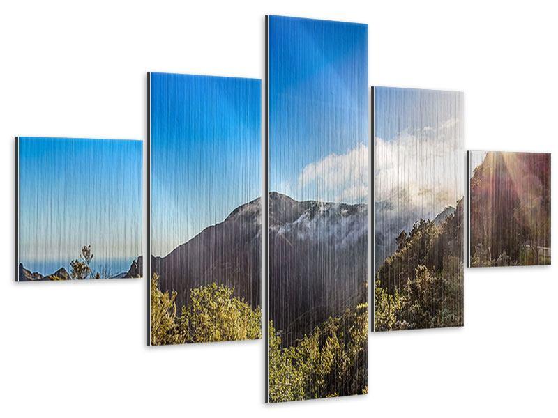Metallic-Bild 5-teilig Berge am Meer