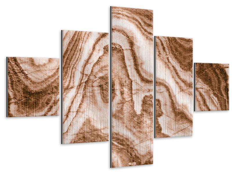 Metallic-Bild 5-teilig Marmor in Sepia
