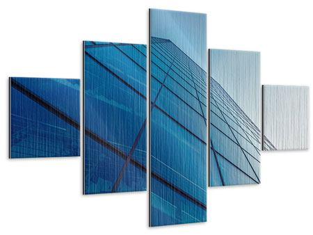 Metallic-Bild 5-teilig Wolkenkratzer-Highlight
