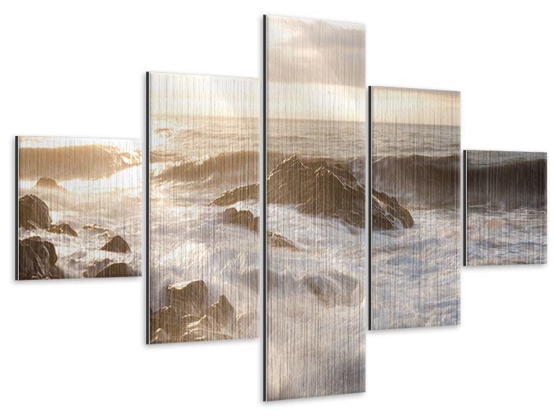 Metallic-Bild 5-teilig Meeresbrandung
