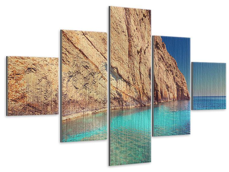Metallic-Bild 5-teilig Wasser
