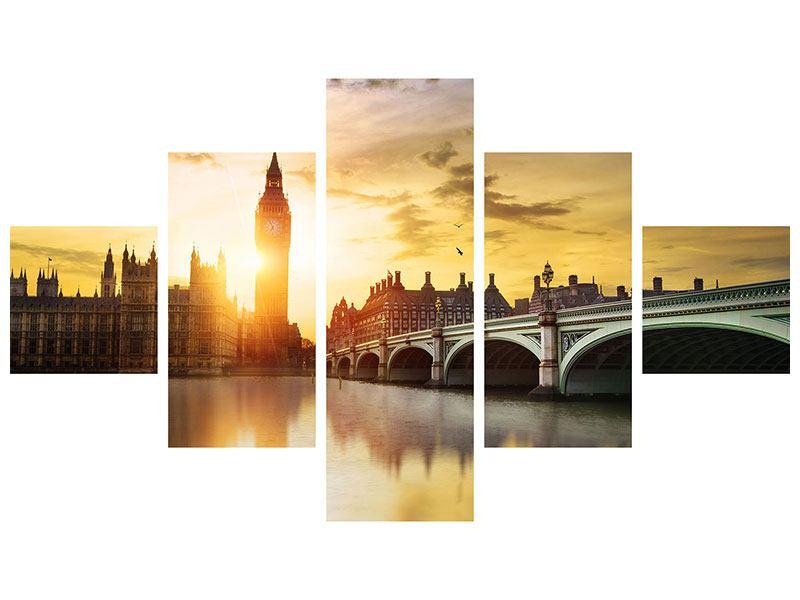 Metallic-Bild 5-teilig Skyline Big Ben im Sonnenuntergang