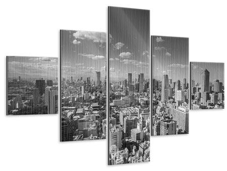 Metallic-Bild 5-teilig Tokio