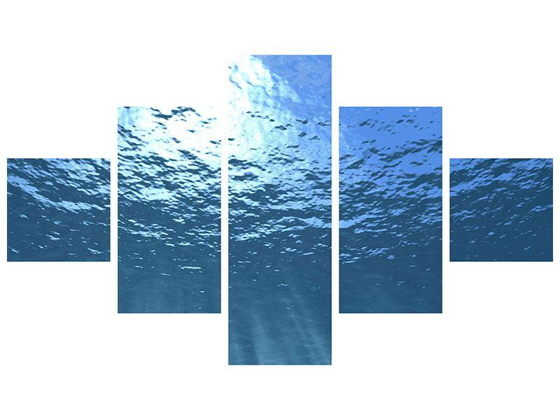 Metallic-Bild 5-teilig Sonnenstrahlen unter Wasser