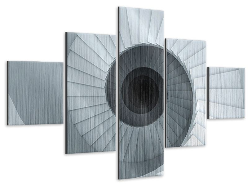 Metallic-Bild 5-teilig 3D Wendeltreppe