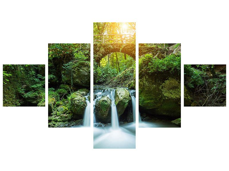 Metallic-Bild 5-teilig Wasserspiegelungen