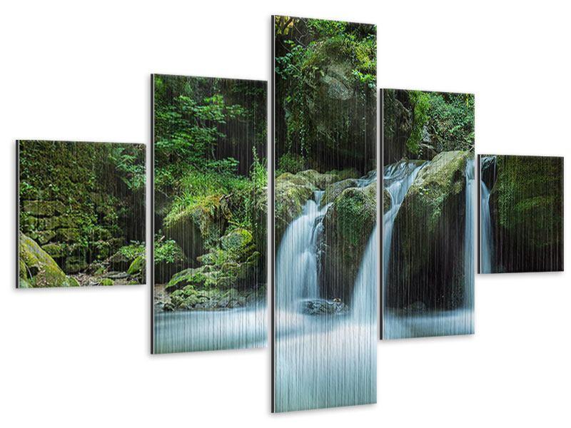 Metallic-Bild 5-teilig Fallendes Wasser