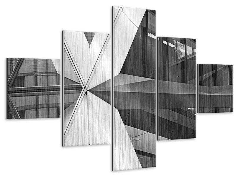 Metallic-Bild 5-teilig Teil eines Wolkenkratzers