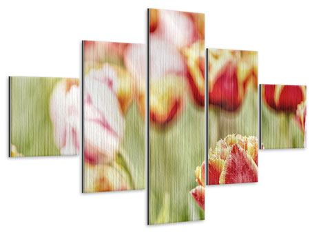Metallic-Bild 5-teilig Die Schönheit der Tulpe