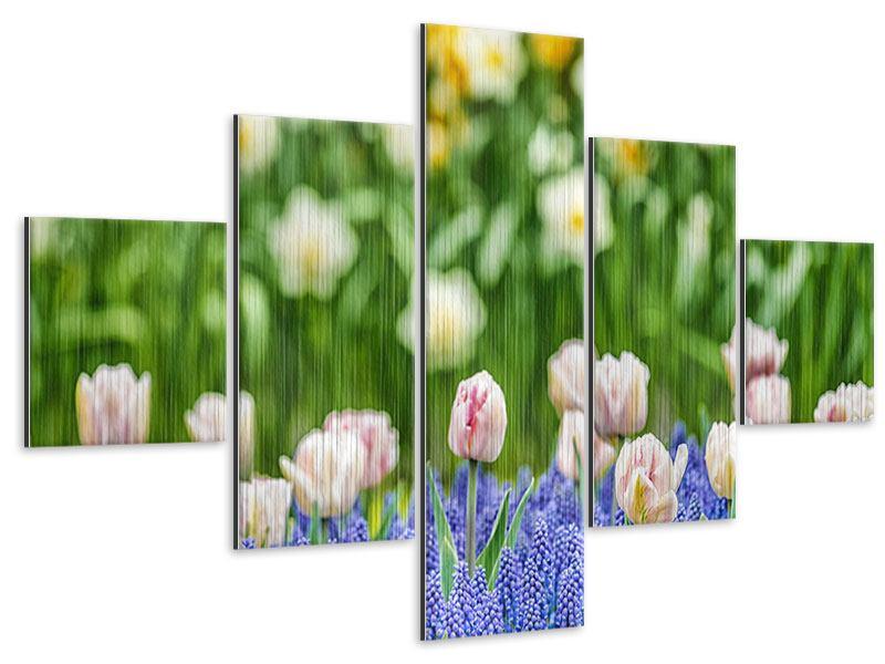 Metallic-Bild 5-teilig Ein Garten mit Tulpen
