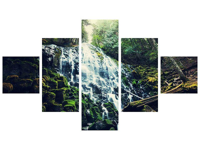 Metallic-Bild 5-teilig Feng Shui & Wasserfall