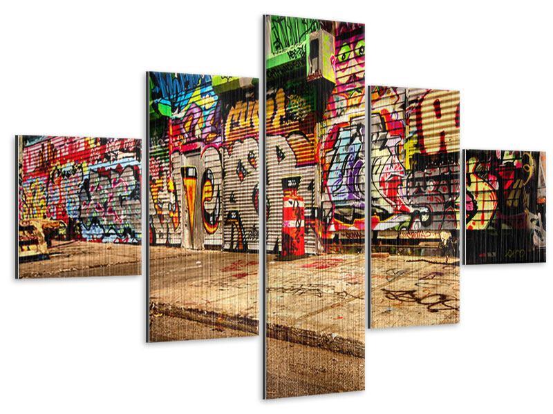 Metallic-Bild 5-teilig NY Graffiti