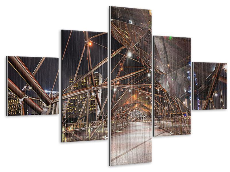 Metallic-Bild 5-teilig Brückenlichter