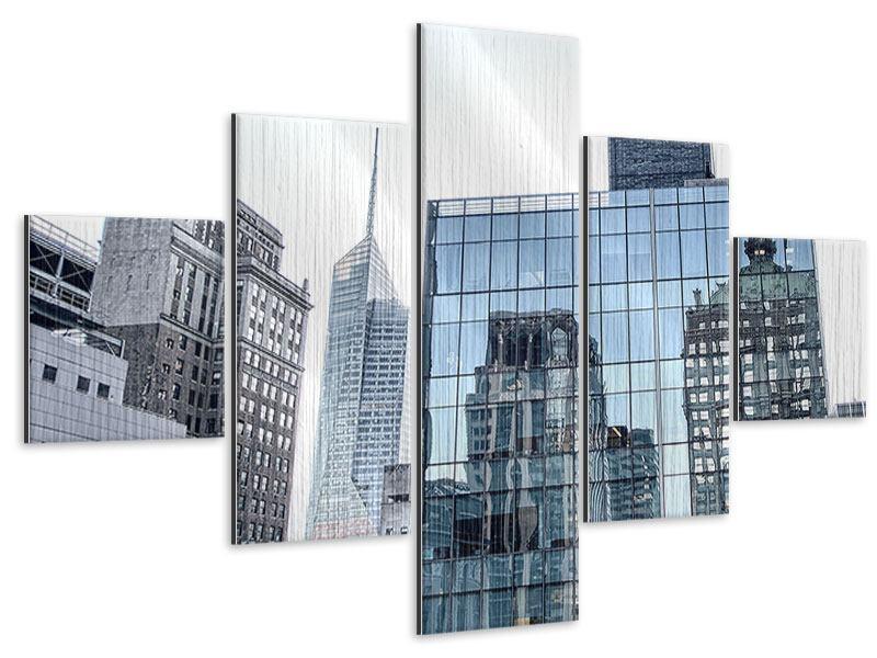 Metallic-Bild 5-teilig Wolkenkratzer NYC
