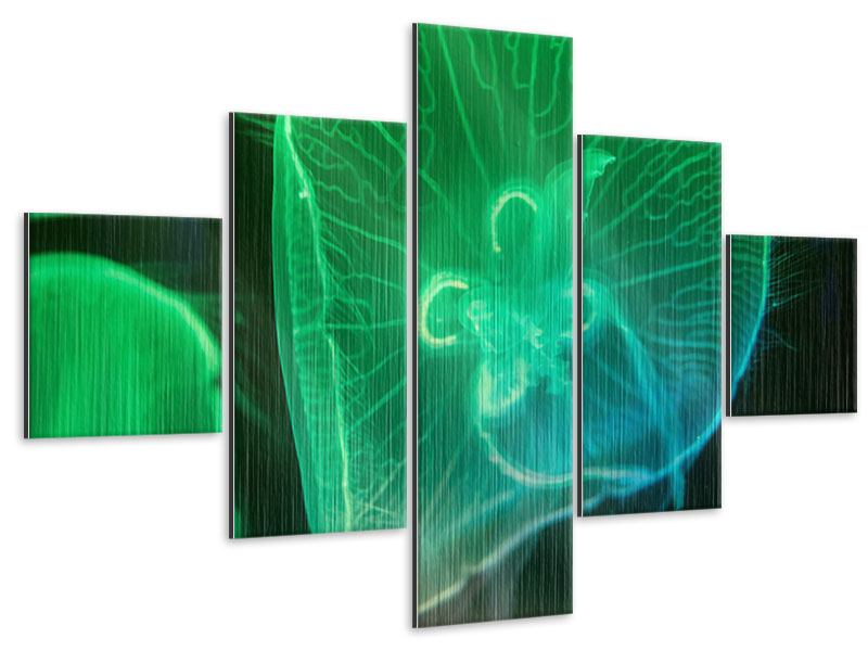 Metallic-Bild 5-teilig Quallen im Licht