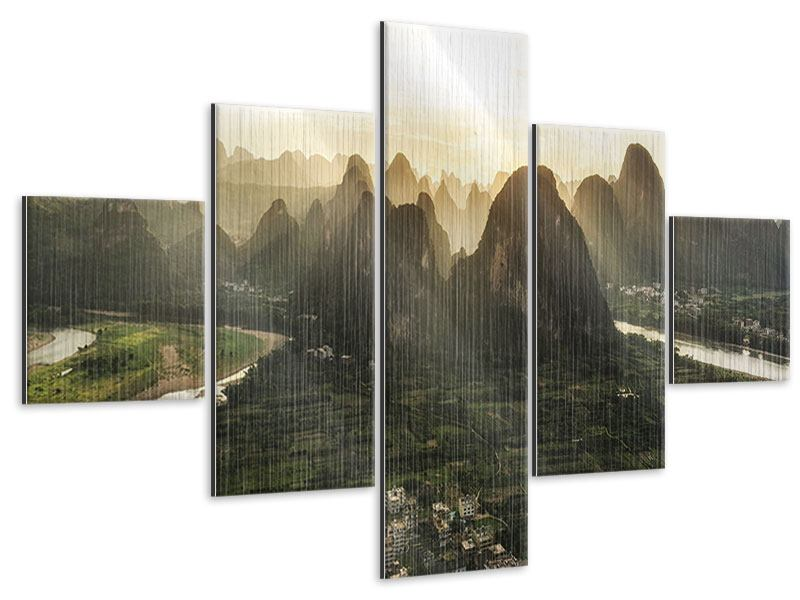 Metallic-Bild 5-teilig Die Berge von Xingping