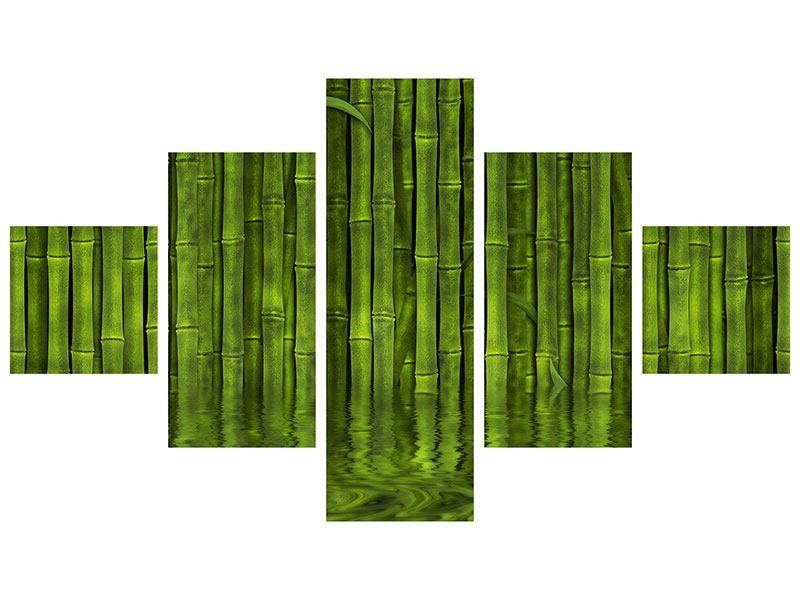 Metallic-Bild 5-teilig Wasserspiegelung Bambus