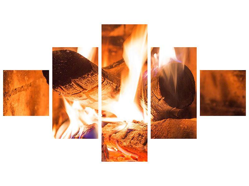 Metallic-Bild 5-teilig Kaminfeuer