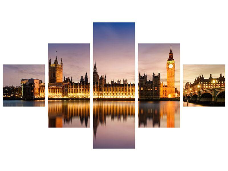 Metallic-Bild 5-teilig Big Ben in der Nacht
