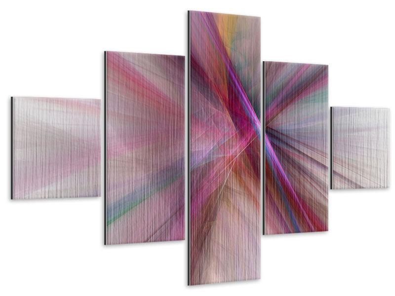 Metallic-Bild 5-teilig Abstraktes Lichterleuchten