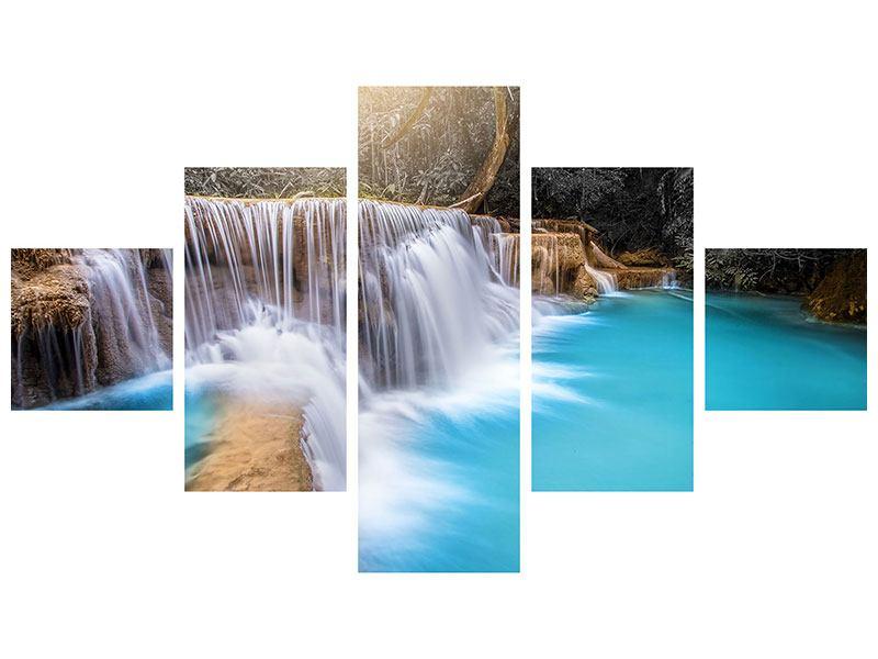 Metallic-Bild 5-teilig Glücklicher Wasserfall
