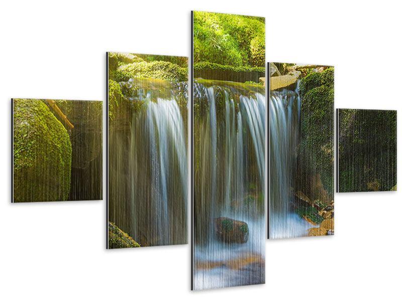Metallic-Bild 5-teilig Schönheit des fallenden Wassers
