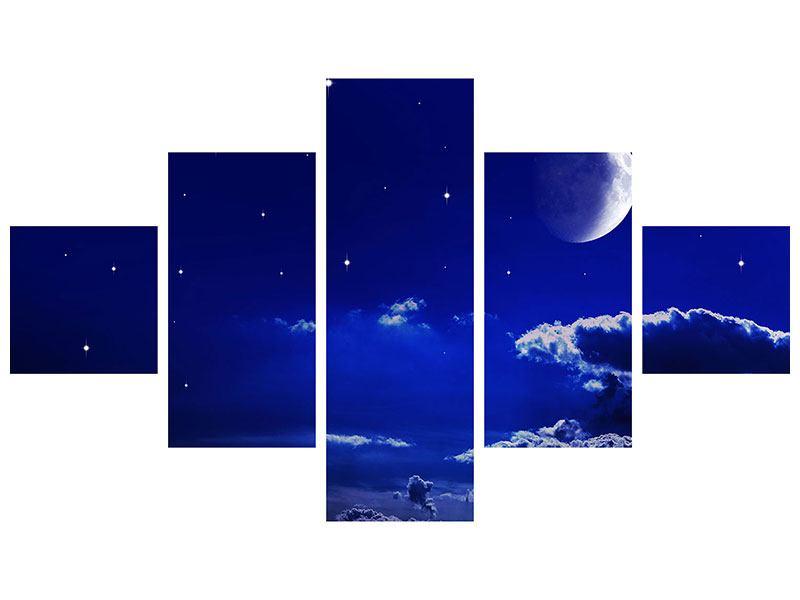 Metallic-Bild 5-teilig Der Nachthimmel