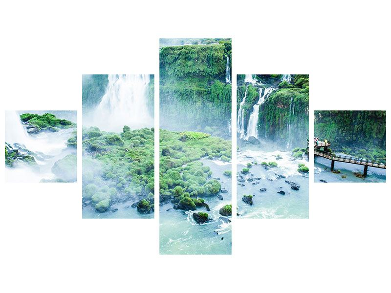 Metallic-Bild 5-teilig Wasserfälle