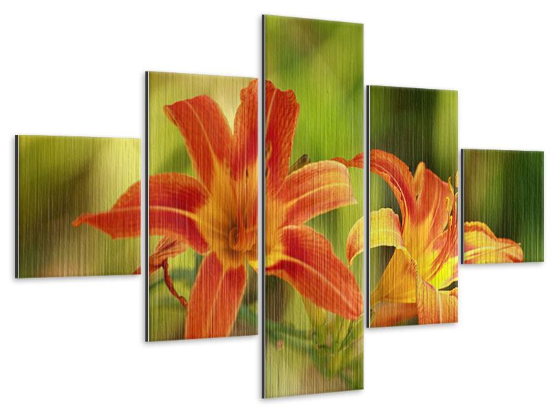 Metallic-Bild 5-teilig Natural Lilien