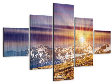 Metallic-Bild 5-teilig Majestätischer Sonnuntergang am Berggipfel
